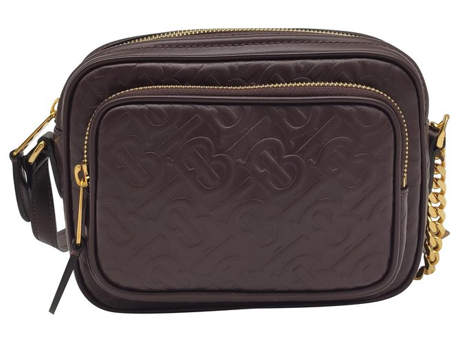 Burberry Burberry Camera bag in monogram leather Handbags Leather Brown ref.234036