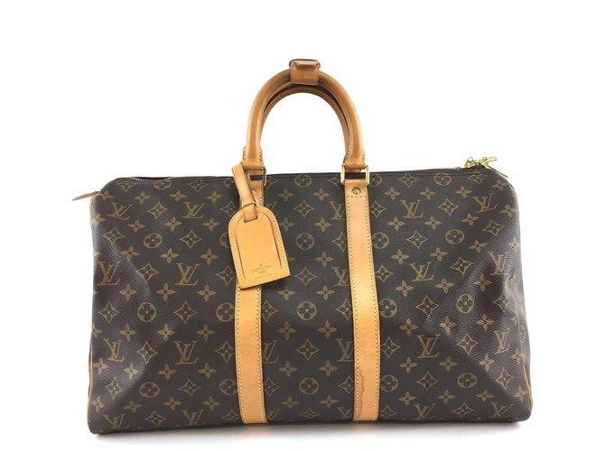Sacs de voyage Louis Vuitton Louis Vuitton Keepall 45 Toile monogramme Cuir Marron ref.234525