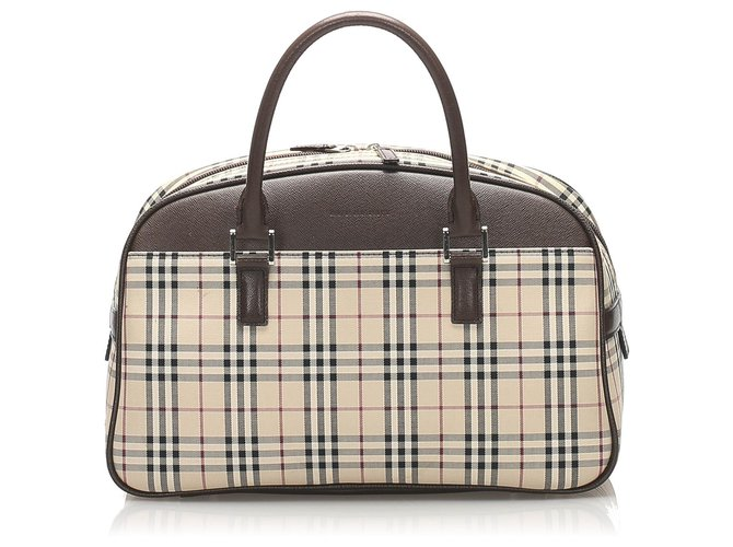 Burberry Burberry Brown House Check Canvas Handbag Handbags Leather,Cloth,Pony-style calfskin,Cloth Brown,Multiple colors,Beige ref.234712