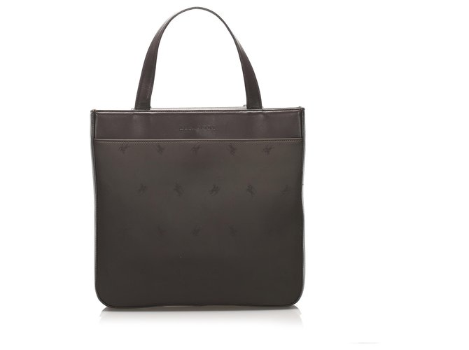 Burberry Burberry Brown Leather Handbag Handbags Leather,Pony-style calfskin Brown,Dark brown ref.234758