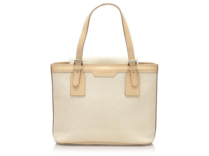 Burberry Burberry White Canvas Handbag Handbags Leather,Cloth,Pony-style calfskin,Cloth Brown,White,Beige ref.234826