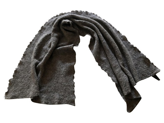 Autre Marque Mohair Alpaca Wool Scarf - taupe melange Men Scarves Other,Wool,Mohair Taupe ref.235526