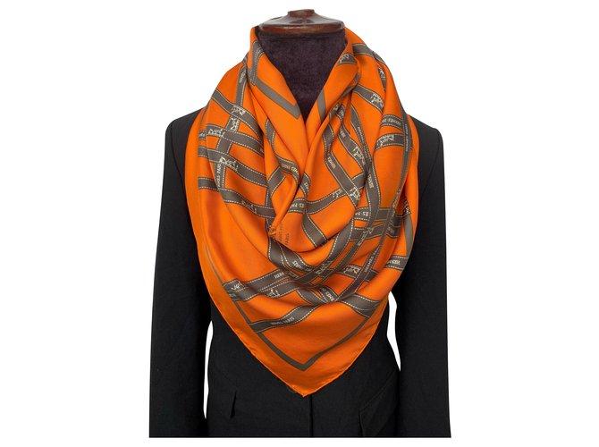 Hermès Orange Silk Bolduc Scarf Silk scarves Silk Orange ref.235738