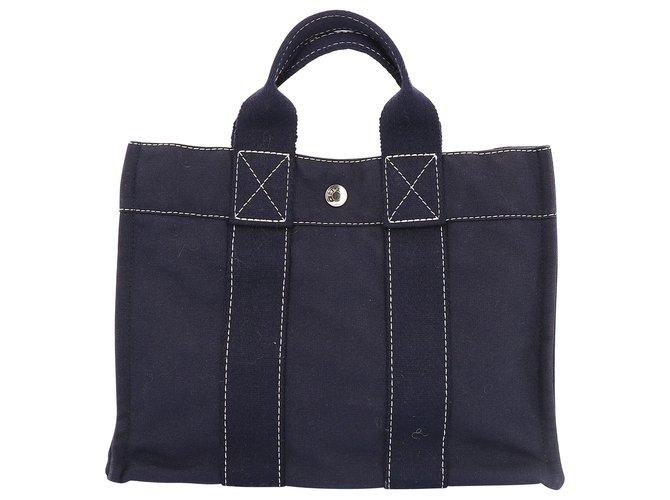 Hermès Hermès Herline Handbags Cotton Navy blue ref.235800