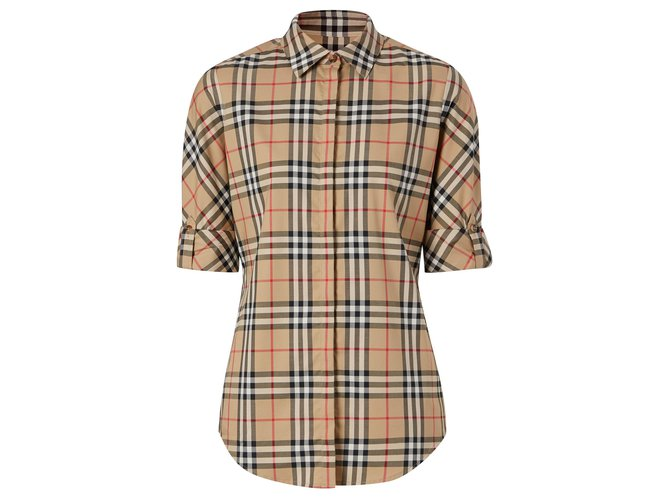 Burberry BURBERRY Vintage Check Stretch Cotton Twill Shirt Tops Cotton Multiple colors,Beige ref.235852