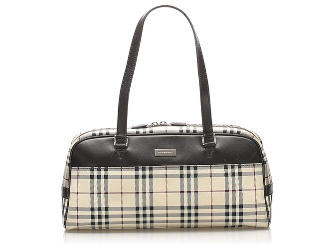 Burberry Burberry Brown House Check Canvas Shoulder Bag Handbags Leather,Cloth,Pony-style calfskin,Cloth Brown,Multiple colors,Beige ref.236053