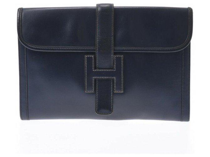 Hermès Hermes Jige Handbags Leather Black ref.236164
