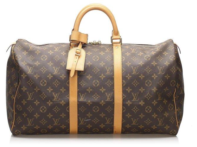 Sacs de voyage Louis Vuitton Louis Vuitton Keepall Monogram Brown 50 Cuir,Toile Marron ref.236925