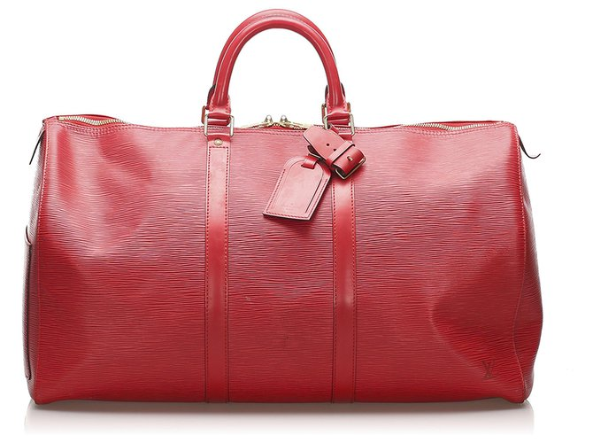 Sacs de voyage Louis Vuitton Louis Vuitton Rouge Epi Keepall 60 Cuir Rouge ref.236944