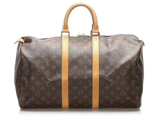 Sacs de voyage Louis Vuitton Louis Vuitton Keepall Monogram Brown 45 Cuir,Toile Marron ref.236969