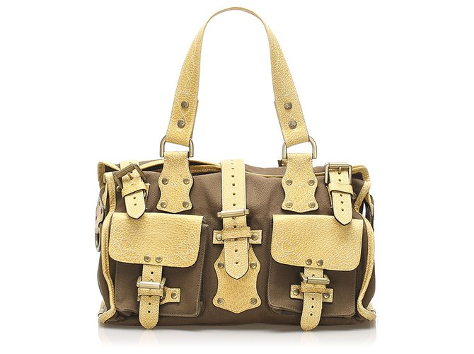 Mulberry Mulberry Brown Roxanne Canvas Shoulder Bag Handbags Leather,Cloth,Pony-style calfskin,Cloth Brown,Yellow ref.237001
