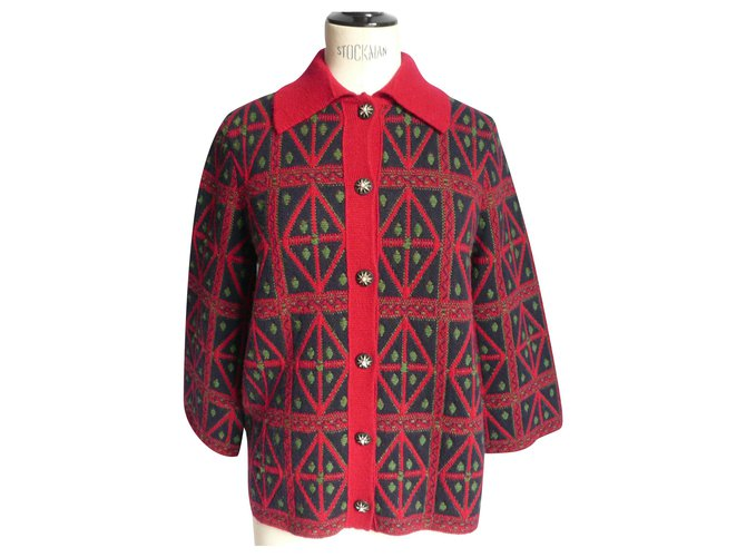 CHANEL Thick cashmere short coat jacket T34 Red  ref.237178