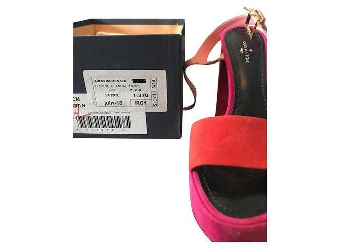 Louis Vuitton Sandals Sandals Cloth Pink,Orange ref.237197