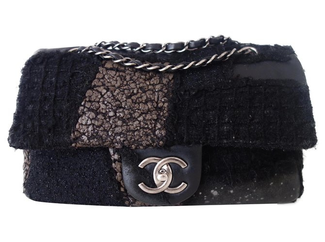 Chanel Chanel Classic Patchwork Bag Handbags Leather,Wool,Tweed Black ref.237443