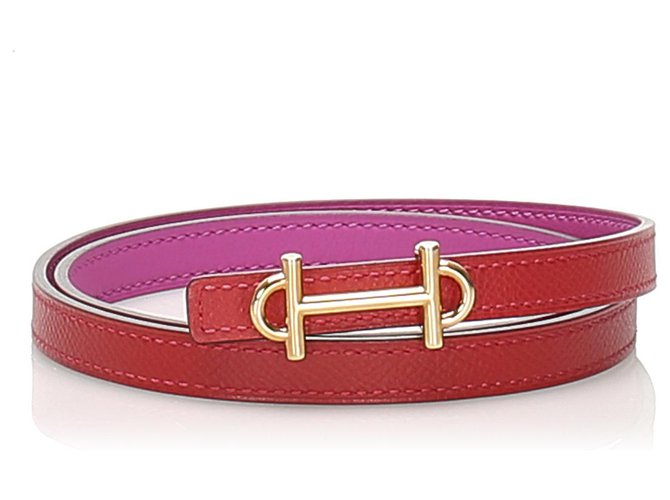 Hermès Hermes Pink Reversible Leather Belt Clutch bags Leather,Pony-style calfskin Pink ref.238007