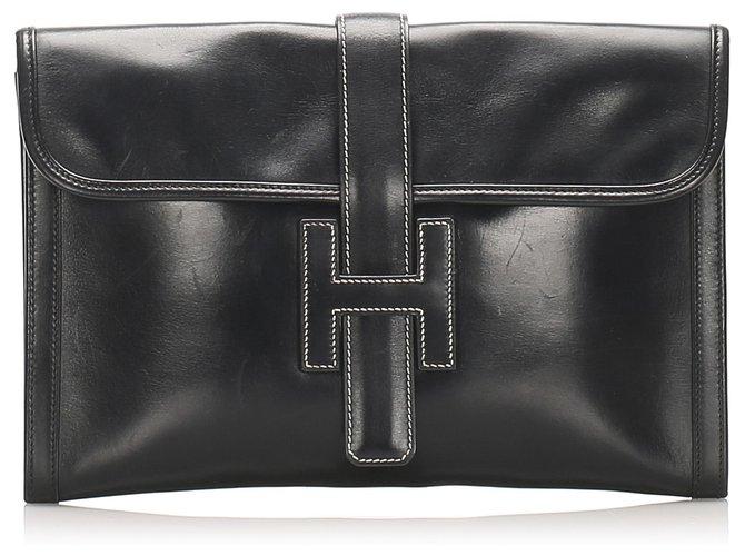 Hermès Hermes Black Jige GM Leather Clutch Bag Clutch bags Leather,Pony-style calfskin Black ref.238018