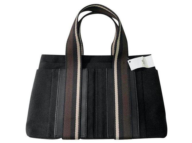 Hermès Handbags Handbags Cloth Black,Dark brown ref.238172
