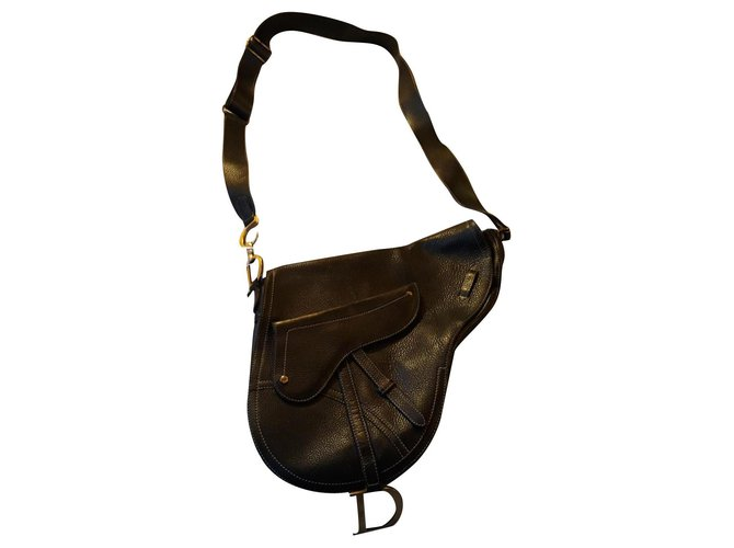 Dior Large saddle shoulder bag dior Handbags Leather Black ref.238324