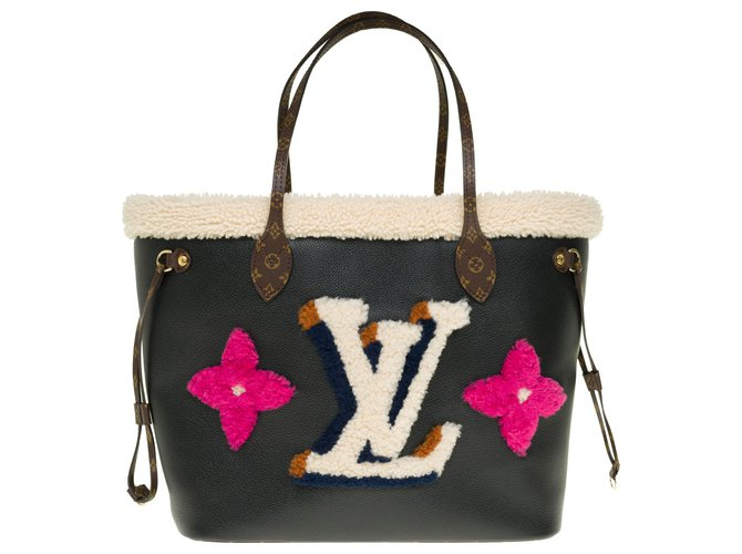 Louis Vuitton Limited edition - Unavailable - Louis Vuitton Neverfull MM Teddy leather tote bag, fur and canvas, new condition! Handbags Leather,Cloth,Fur Brown,Black ref.238665