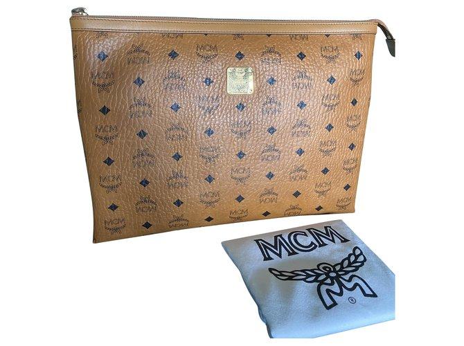 MCM Visetos Cognac Clutch Zipped Pouch Laptop Sleeve Brown Black Golden Cloth  ref.238802