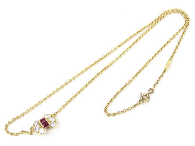 Van Cleef & Arpels Van Cleef and Arpels Gold 18K Ruby Diamond Celestine Pendant Necklace Necklaces Other,Metal Red,Golden ref.238949