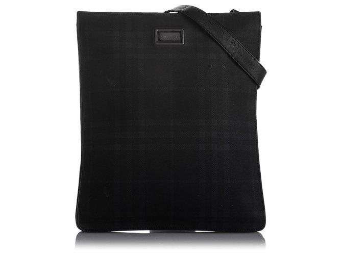 Burberry Burberry Black Plaid Leather Crossbody Bag Handbags Leather,Pony-style calfskin Black ref.239174