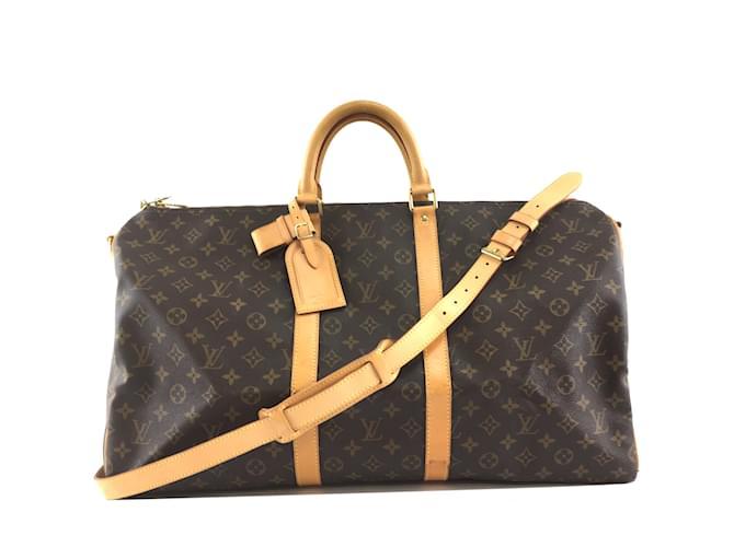 Sacs de voyage Louis Vuitton Louis Vuitton Keepall 55 Toile Monogram Bandoulière Cuir Marron ref.239292