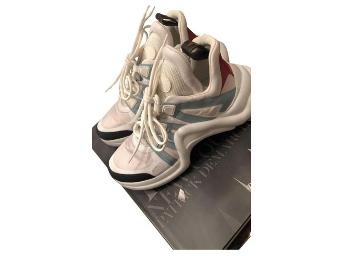Louis Vuitton Louis Vuitton Archlight Sneakers Sneakers Leather,Cloth Pink,White,Navy blue,Light blue ref.239614