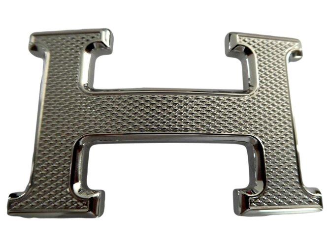 Hermès Hermès belt buckle 5382 in silver palladium-plated steel guilloche Belts Steel Silvery ref.245468