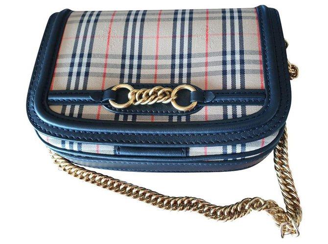 Burberry Shoulder bag check Handbags Cotton,Lambskin Beige ref.239627