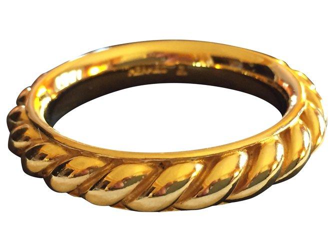 Hermès Square Ring Golden Metal  ref.239917