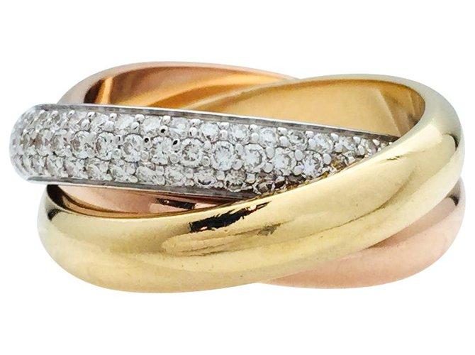 """Bagues Cartier Bague Cartier, modèle """"Trinity"""" 3 ors, diamants. Or blanc,Autre,Or jaune,Or rose Autre ref.239929"""