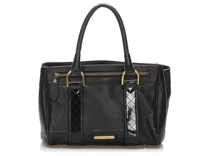 Burberry Burberry Black Leather Handbag Handbags Leather,Pony-style calfskin Black ref.240037