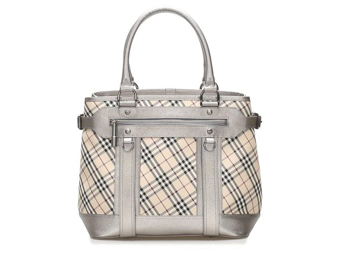 Burberry Burberry Brown Nova Check Canvas Tote Bag Totes Leather,Cloth,Pony-style calfskin,Cloth Brown,Multiple colors,Beige ref.240355