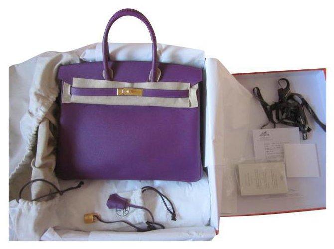 Hermès Bikin 35 Epsom Anemone Handbags Leather Purple ref.240676
