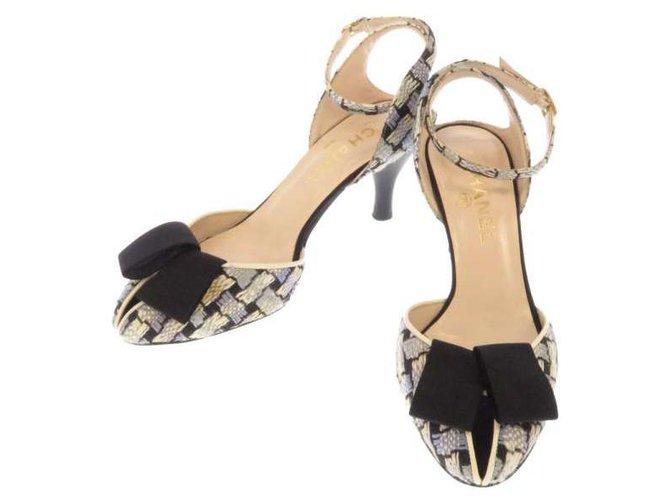 Chanel sandals Ribbon motif Ankle strap Black White Blue Leather Metal Tweed  ref.241045