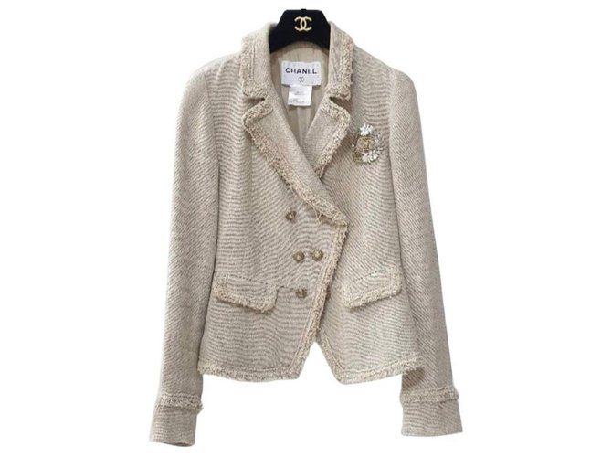 Chanel Chanel 10A Beige Crested lined Breasted Jacket Jackets Linen Beige ref.241112