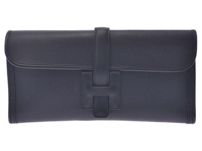 Hermès Hermes Jige Clutch bags Leather Black ref.241178