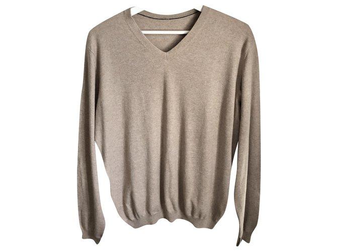 Autre Marque Massimo dutti beige cotton silk and cashmere sweater - V neck - T. L OR XL Sweaters Silk,Cotton,Cashmere Beige ref.241257