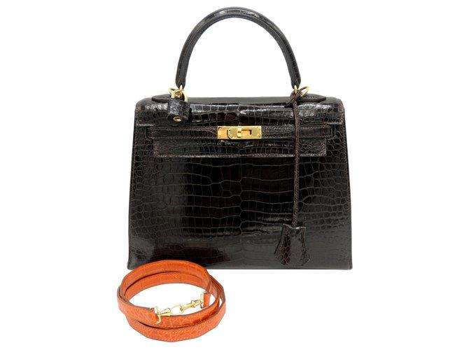 Hermès HERMES BAG KELLY 25 POROSUS Dark brown Exotic leather  ref.241533