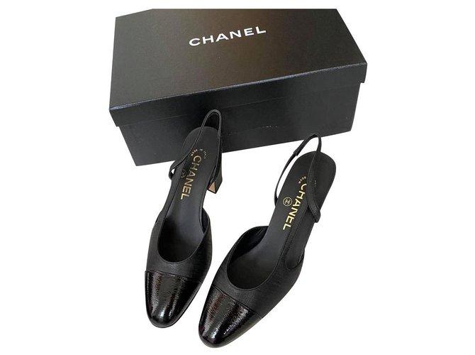 Chanel Heels Black Leather  ref.241570