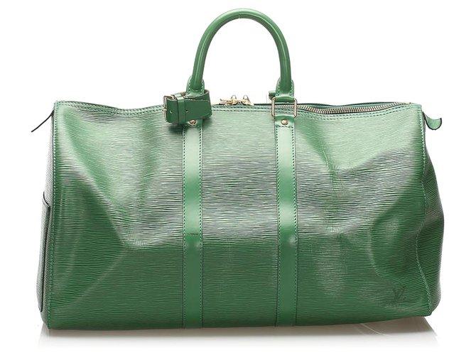 Sacs de voyage Louis Vuitton Louis Vuitton Green Epi Keepall 50 Cuir Vert ref.241661