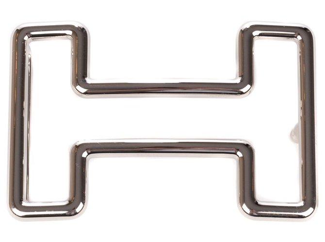 Ceintures homme Hermès Boucle ceinture Hermès Tonight en métal argent palladié (37mm) Métal Argenté ref.241751