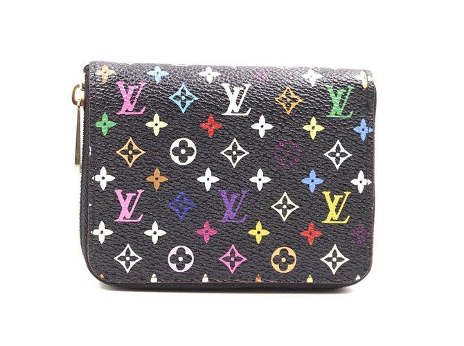 Louis Vuitton Louis Vuitton Black Multicolor Monogram Square Wallet Purses, wallets, cases Leather Multiple colors ref.241854