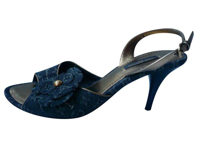 LOUIS VUITTON Sandals DENIM blue gray monograms T38IT Black Cloth  ref.241885