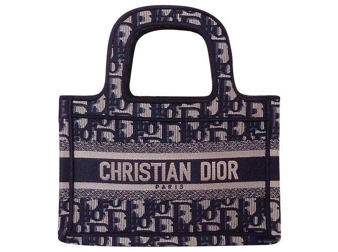 Dior DIOR Book Tote Mini Brode Oblique bag Handbags Cloth Blue ref.241914