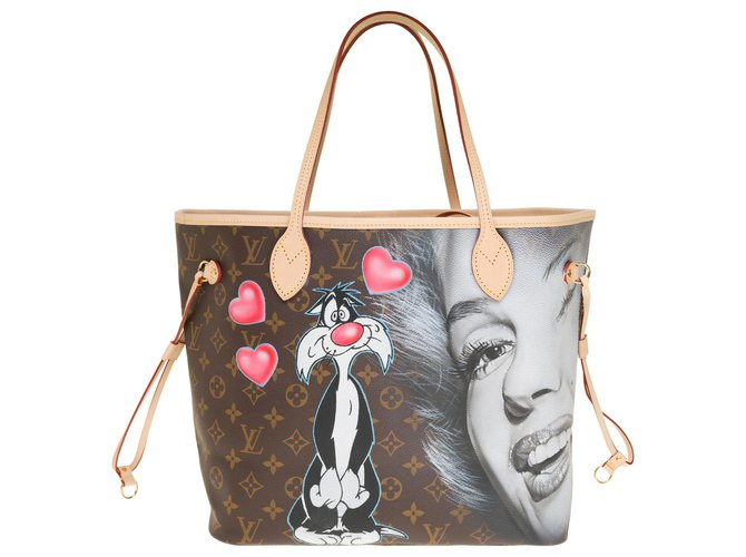 "Louis Vuitton Splendid Louis Vuitton Neverfull MM bag in custom monogram canvas ""In Love with Marilyn"" by the artist PatBo Handbags Leather,Cloth Brown ref.242274"