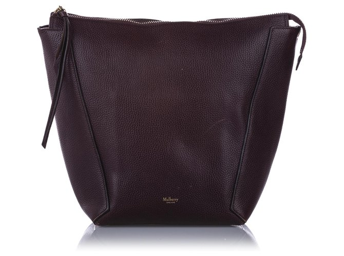 Mulberry Mulberry Red Camden Grained Leather Shoulder Bag Handbags Leather,Pony-style calfskin Red,Dark red ref.243151