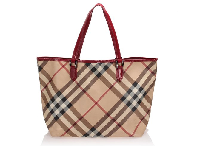 Burberry Burberry Brown Nova Check Tote Bag Totes Leather,Plastic,Pony-style calfskin Brown,Multiple colors,Beige ref.243187