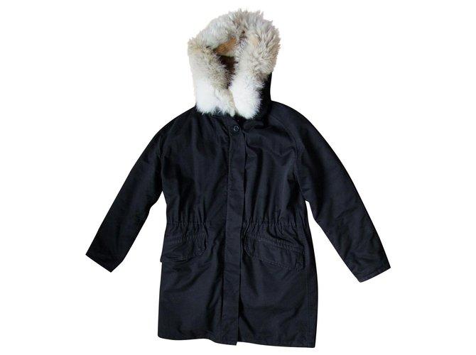 Yves Salomon ARMY Coats, Outerwear Cotton Black ref.243269